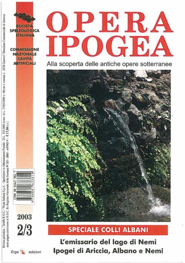 Copertina Opera Ipogea 2-3 2003