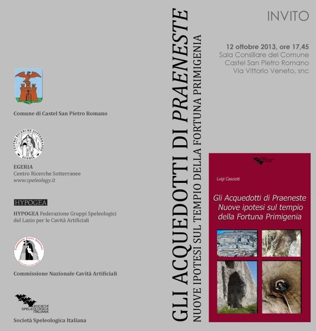 Invito presentazione Acquedotti Praeneste