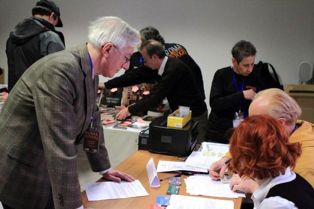 La segreteria del Congresso Hypogea2015. Foto Antonio De Paolis (Archivio Egeria CRS).